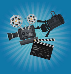 color background with glow with movie film vector image