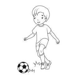 coloring book boy playing soccer vector image