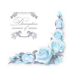 Corner background with blue roses and green vector