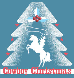 Cowboy christmas card blue background with cowboy vector