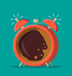 cup coffee inside alarm clock vector image