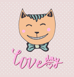 Cute kitten with pink heart loving cat can be vector