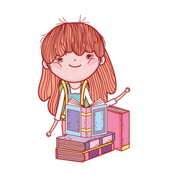 cute little girl with books study literature vector image
