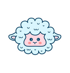 Cute sheep lamb face modern line vector