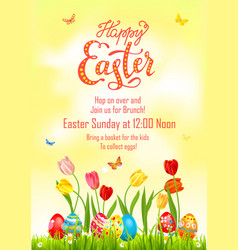 Eggs paint poster easter vector