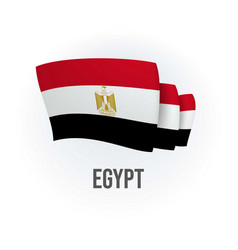 Egypt flag bended flag realistic vector