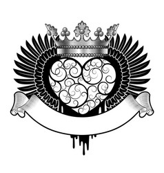 engraved decorative heart with wings crown vector image
