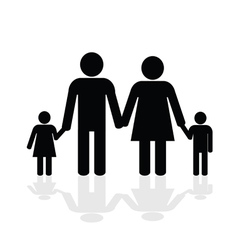 family happy silhouette vector image