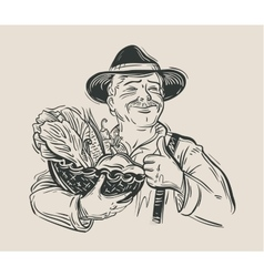 Farmer and fresh vegetables sketch vector