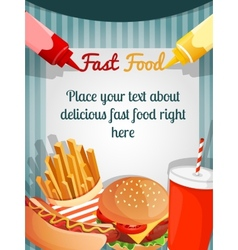 fast food menu poster vector image