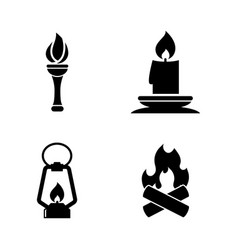 fire light source simple related icons vector image