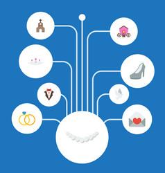 Flat icons bridegroom dress accessories vector