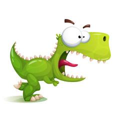 Funny cute crazy dinosaur vector