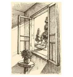 garden view from window hand drawing vector image