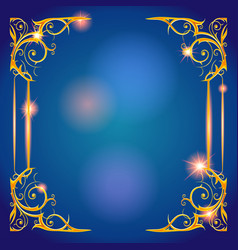Gold and blue holiday frame vector