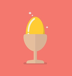 Golden egg in eggcup vector image