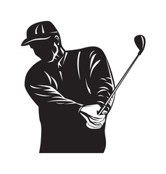 Golfer Swinging Club Black and White Retro vector image