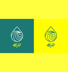 h2o water line icon vector image