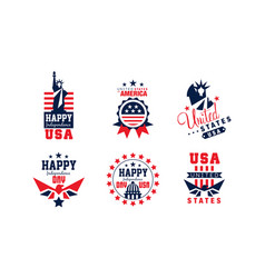 happy independence day bright badges collection vector image