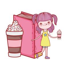 Happy little girl reading book with milkshake vector
