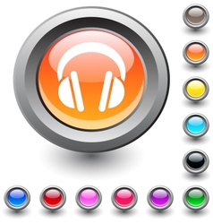 Headphones round button vector image