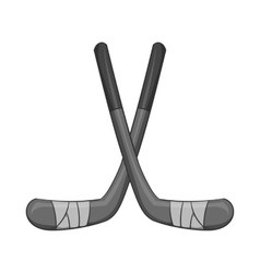 Hockey sticks icon black monochrome style vector image