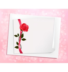 Holiday background with sheet of paper and a rose vector image