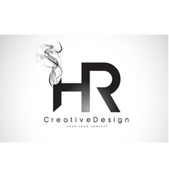 Hr letter logo design with black smoke vector