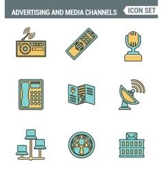 icons line set premium quality advertising vector image
