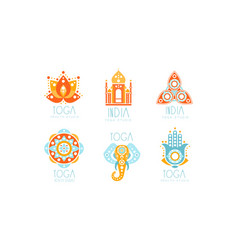 indian yoga studio logo design set vector image