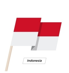 Indonesia Ribbon Waving Flag Isolated on White vector image