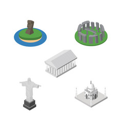 isometric attraction set of india mosque athens vector image vector image