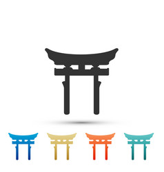 Japan gate icon isolated torii gate sign vector