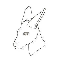 kangaroo icon in outline style isolated on white vector image