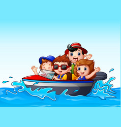 Kids riding a motor boat in the ocean vector