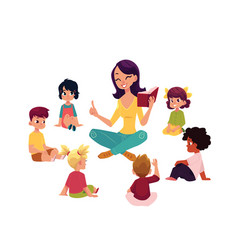 kindergarten kids listen to teacher reading a book vector image