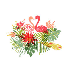 Lets flamingle hand drawn exotic plant and bird vector