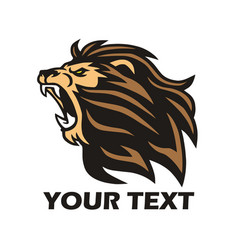 Lion roaring logo design template vector