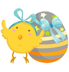 little chick with easter egg vector image
