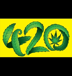Marijuana leaf symbol and 420 hemp text vector image