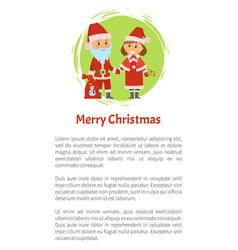 Merry christmas poster santa claus and helper vector