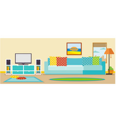 modern living room interior with television set vector image