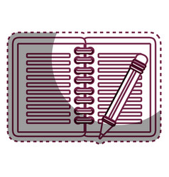 Notebook with pencil school supply icon vector