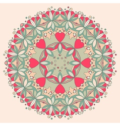 Ornamental round flower pattern with hearts vector