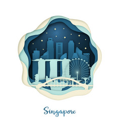 paper art of singapore origami concept night vector image