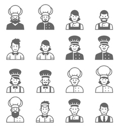 People occupations icons Cook avatar profile vector