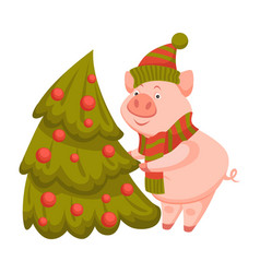 pig decorating fir tree for winter holiday vector image