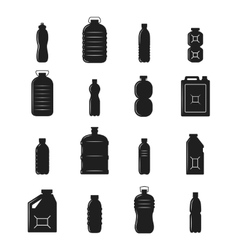 Plastic Bottle Silhouettes vector image