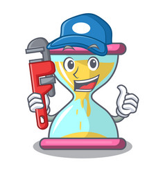 Plumber vintage hourglass isolated on the mascot vector