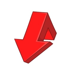 Red broken arrow icon cartoon style vector